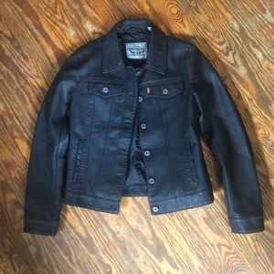 Levi's women's small black vegan leather jacket